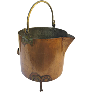 19th Century Copper Footed Bucket Handle Spout Fireplace Country Kitchen