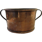 Large Copper Pot Bucket with Iron Side Handles Beautiful Patina
