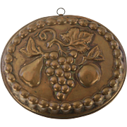 Vintage Copper Culinary Mold with Fruit Design, 20th C