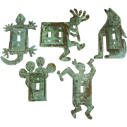Five Vintage Verde Gris Copper Kopelli Catus South Western Lizard Coyote Switch Plates (5)