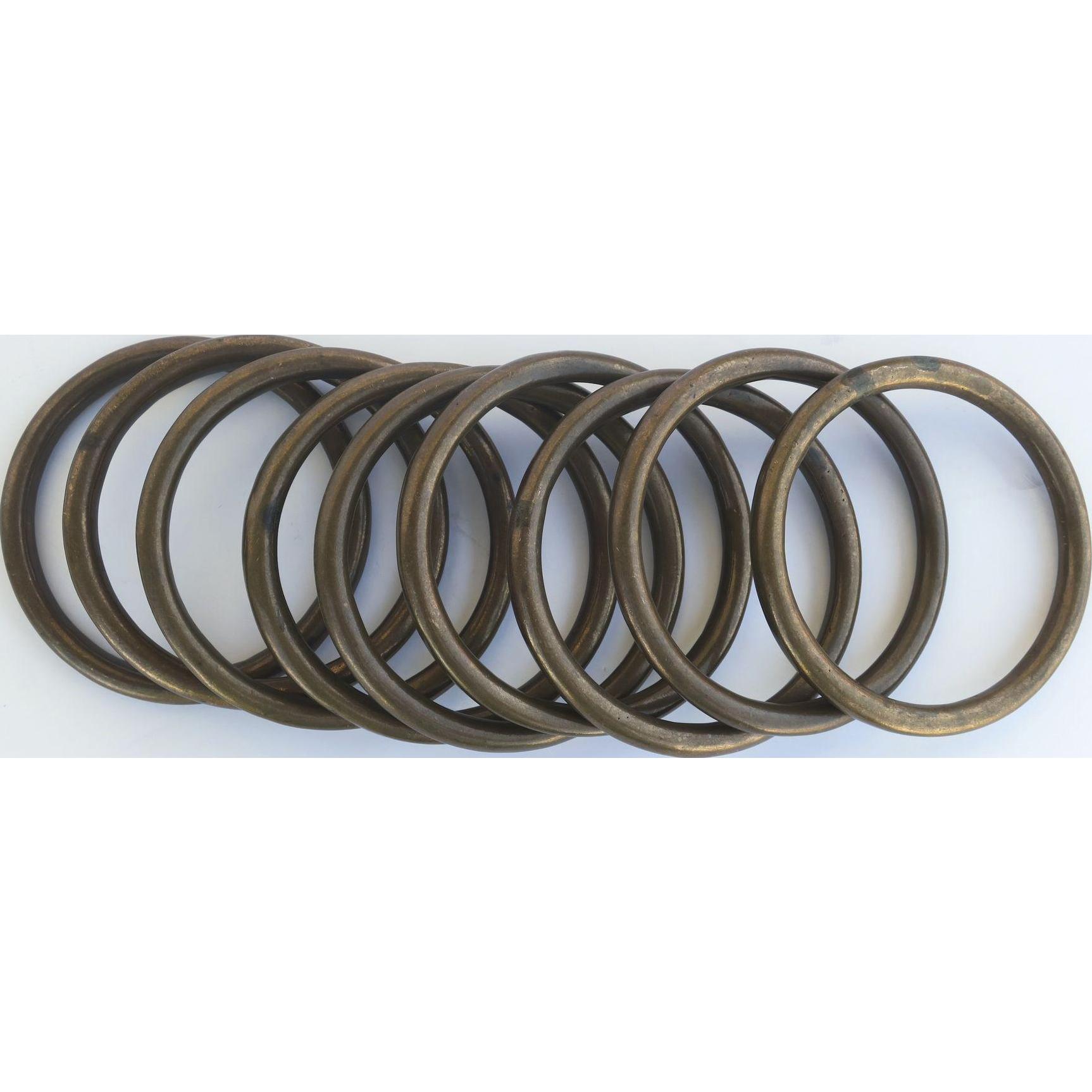 19th Century Set of Nine Large Bronze Rings
