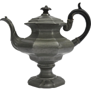 Pewter Coffee Pot/Teapot Dixon & Sons Octagonal Shaped Carved Wooden Handle 19th Century