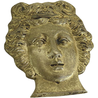 19th Century Brass Ormolu Furniture Mount Decoration Woman's Face Roman Greek