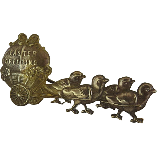 Victorian Decoration Ornament Brass Chicks Pulling Cart with Egg Easter Greeting Candy