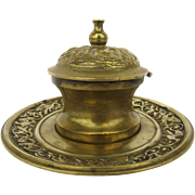 Brass 19th Century Inkwell Inkstand Copper Well