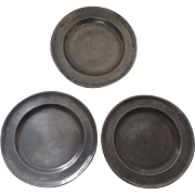 """3 x 18th Century Pewter Plates 9 1/2"""" Touchmarks Touch Marks"""