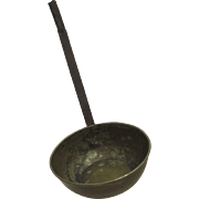 Vintage Large Copper over Tin Ladle with Iron Handle