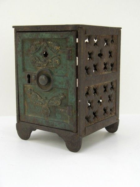 Cast Iron Painted Bank in the Shape of a Safe