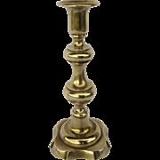 English Brass Baluster Candlestick Holder with Shaped Base c 1800