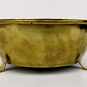 English Brass Footed Bowl with Rolled Edge.