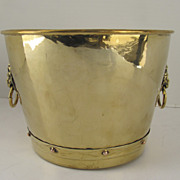 Brass Jardinière with Cast Lion Mask Ring Handles