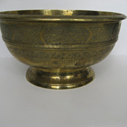 Asian 19th Century Large Footed Brass Bowl