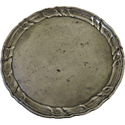 Early English Pewter Plate with Wavy Edge Engraved Initials