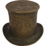 Miniature Solid Brass Top Hat 19th Century Brush/Ink Pot