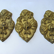 Set of Three Brass Repousse Curtain Tie Backs c 1880
