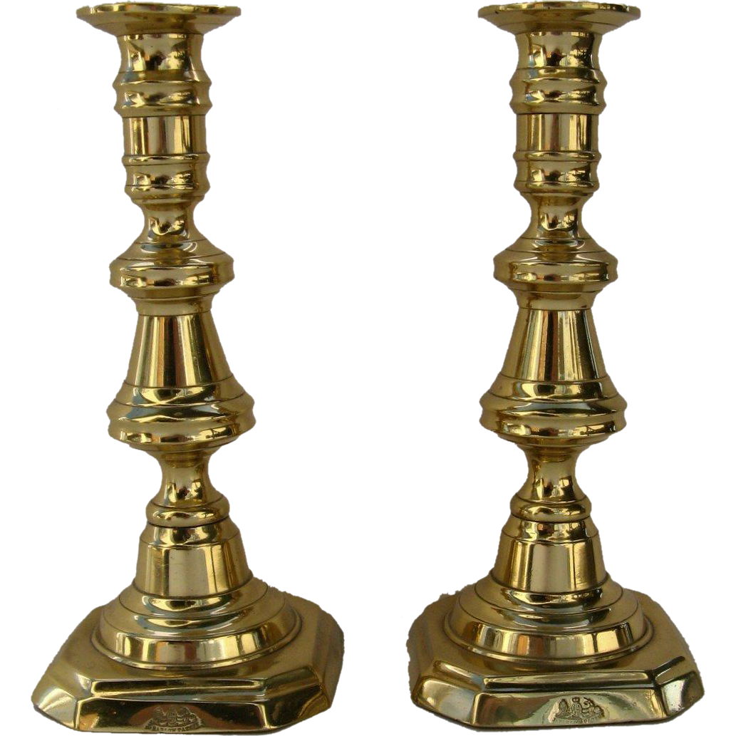 Very Nice Pair English J. Barlow's Pat'd Candlesticks