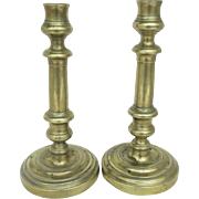 19th Century Italian Brass Candlesticks Pair