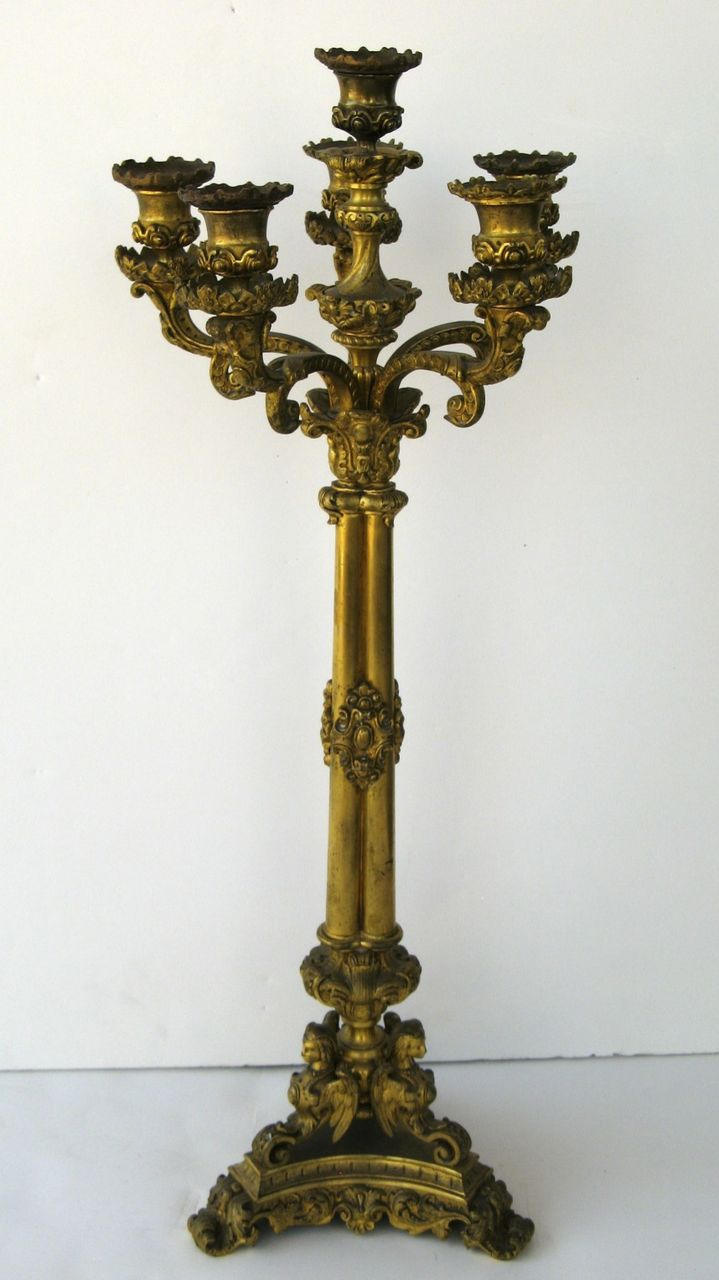 French Gilt Brass Candelabra with Wonderful Detail