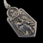 Vintage St. Christopher Holy Medal, Catholic, Saint, Travel, Necklace, Charm