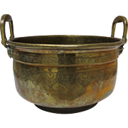 Moroccan Engraved Brass Basin Jardiniere Pot