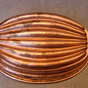 Antique Large English Copper Mold Melon Ribbed