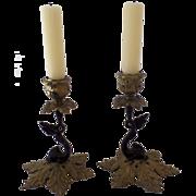 Pair of Vintage Cast Brass Dolphin Serpent Candlesticks