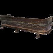 Regency Antique Copper Fireplace Fender Pierced Cast Lion Paw Feet