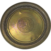 Vintage Brass Gallery Round Tray Engraved Elephant