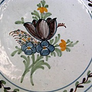 French Faience Large Wavy Edge Bowl