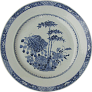 "18th Century Blue and White Chinese Charger 15"" Peony"