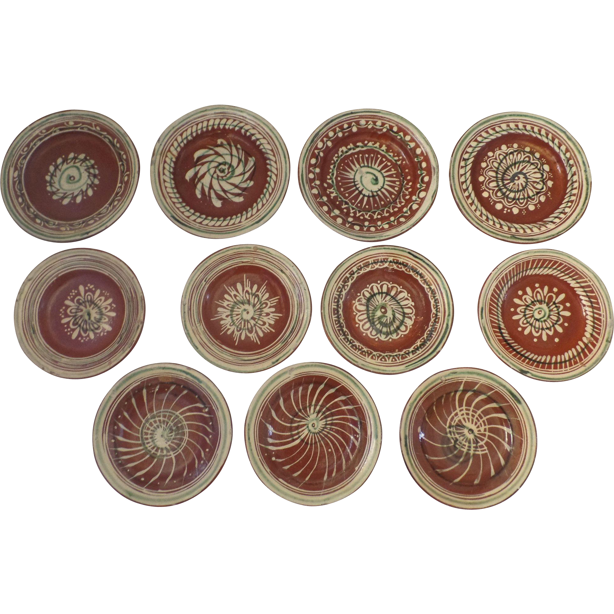 Vintage Mexican Pottery Cups and Saucers (11)