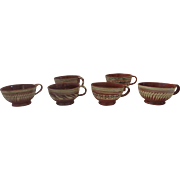 6 x Vintage Mexican Mexico Hand Painted Pottery Cups Folk Art Country