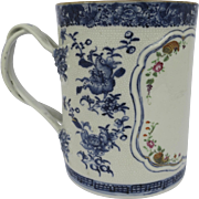 Chinese Export Blue Underglaze and Famille Rose Large Tankard or Grace Cup Late 18th Century