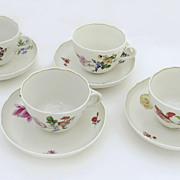 Set of 4 Meissen Tea Cups and Saucers