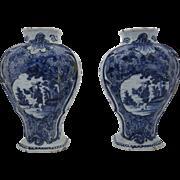 Pair of Blue and White Delft Die  Klauen Vases