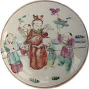 19th Century Chinese Vermilion Ink Paste Box Famille Rose