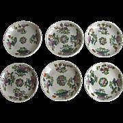 Set of 6 Vintage Chinese China Enamel Glazed Plates
