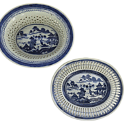 Chinese Export Blue and White Reticulated Basket and Under Tray