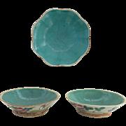 Three 19th Century Famille Rose Bulb Bowls Aqua Interior