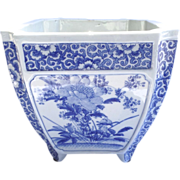 Late 19th Century Blue & White Chinese Footed Jardiniere Square with Convex Corners