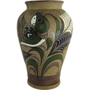 Vintage Tonala Folk Art Stoneware Sandstone Glazed Vase Parrot Signed