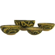Set of vintage  4 Graduated Glazed Mexican Pottery Bowls