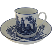 English Chinoiserie Decorated Blue and White Can Cup and Saucer c1800