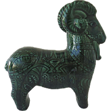 Mid Century Ceramic Pottery Glazed Ram in the Style of Bitossi