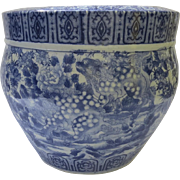Japanese Large Fish Bowl Jardiniere Blue and White 19th Century
