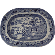 19th Century English Ironstone Blue and White Willow Pattern Platter