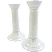 Pair of All White Apilco Porcelain Candlesticks