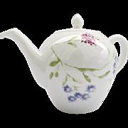 Large Vintage Teapot by Bernardaud, France French Flora Pattern Porcelain