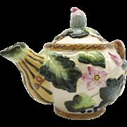 Vintage Cardinal Inc. Majolica Tea Pot Teapot in Squash Blossom Motif 1992