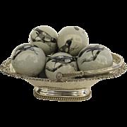 Vintage Ceramic Pottery Balls Bird Motif